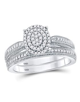 10kt White Gold Womens Round Diamond Oval Bridal Wedding Engagement Ring Band Set 1/3 Cttw