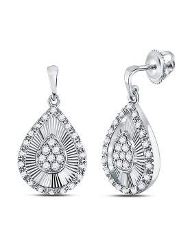 10kt White Gold Womens Round Diamond Teardrop Dangle Earrings 1/3 Cttw