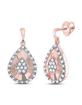 10kt Rose Gold Womens Round Diamond Teardrop Dangle Earrings 1/3 Cttw