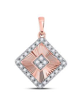10kt Rose Gold Womens Round Diamond Diagonal Square Pendant 1/6 Cttw