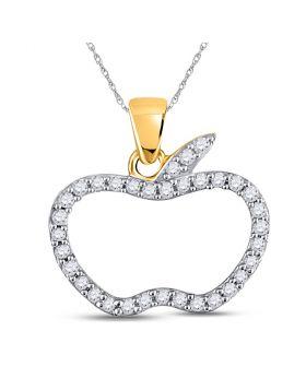 10kt Yellow Gold Womens Round Diamond Apple Outline Pendant 1/5 Cttw