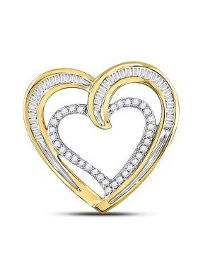10kt Yellow Gold Womens Round Diamond Heart Pendant 1/3 Cttw