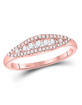 14kt Rose Gold Womens Round Diamond Fashion Band Ring 3/8 Cttw