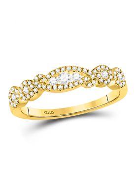 14kt Yellow Gold Womens Round Diamond 3-stone Band Ring 3/8 Cttw