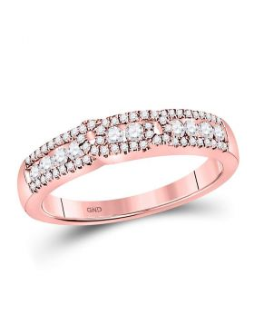 14kt Rose Gold Womens Round Diamond Triple Row Band Ring 1/2 Cttw