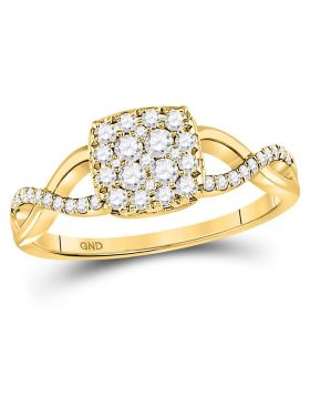 10kt Yellow Gold Womens Round Diamond Square Cluster Twist Ring 1/2 Cttw