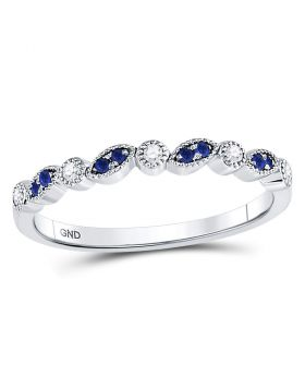 10kt White Gold Womens Round Blue Sapphire Diamond Stackable Band Ring 1/10 Cttw