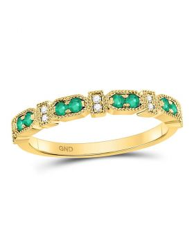 10kt Yellow Gold Womens Round Emerald Stackable Band Ring 1/4 Cttw