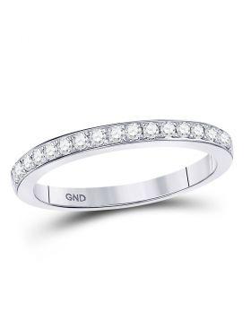 10kt White Gold Womens Round Diamond Single Row Band Ring 1/4 Cttw