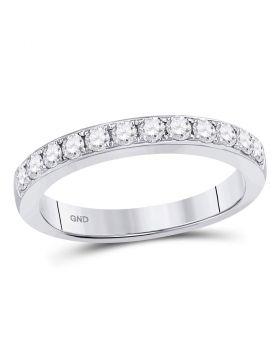 10kt White Gold Womens Round Diamond Single Row Fashion Band Ring 1/2 Cttw