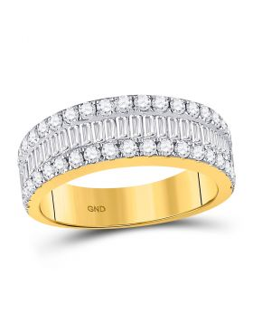 14kt Yellow Gold Womens Baguette Diamond Triple Row Band Ring 1-1/2 Cttw