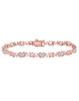 Rose-tone Sterling Silver Womens Round Diamond Mom Mother Bracelet 1/6 Cttw