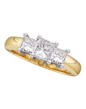 14kt Yellow Gold Womens Princess Diamond 3-stone Bridal Wedding Engagement Ring 1/4 Cttw