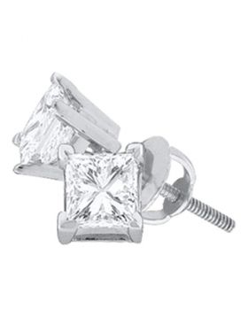 14kt White Gold Unisex Princess Diamond Solitaire Stud Earrings 1-1/2 Cttw