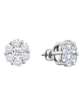 14kt White Gold Womens Round Diamond Large Flower Cluster Stud Earrings 1-1/2 Cttw