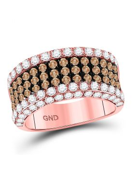 14kt Rose Gold Womens Round Brown Diamond Band Ring 2-3/8 Cttw
