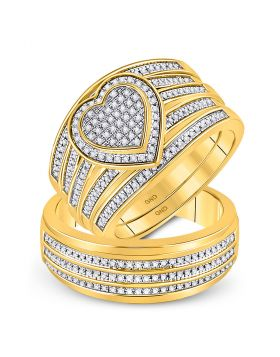 10kt Yellow Gold His & Hers Round Diamond Heart Matching Bridal Wedding Ring Band Set 1/2 Cttw