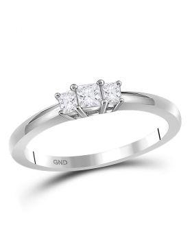 14kt White Gold Womens Princess Diamond 3-stone Bridal Wedding Engagement Ring 1/4 Cttw