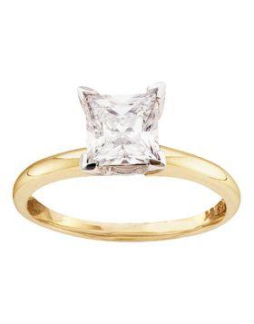 14kt Yellow Gold Womens Princess Diamond Solitaire I2 JK Wedding Engagement Ring 1/4 Cttw