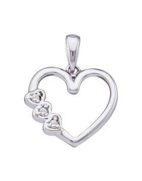 10kt White Gold Womens Round Diamond Triple Heart Pendant .03 Cttw