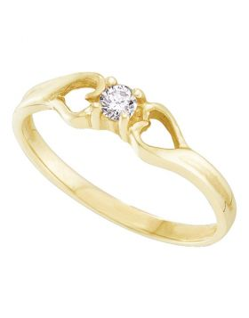 10kt Yellow Gold Womens Round Diamond Solitaire Heart Promise Bridal Ring 1/10 Cttw