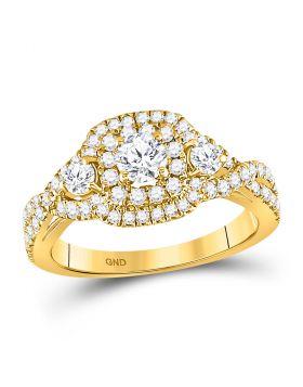 14kt Yellow Gold Womens Round Diamond 3-stone Twist Bridal Wedding Engagement Ring 1.00 Cttw