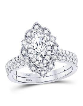 14kt White Gold Womens Marquise Diamond Bridal Wedding Engagement Ring Band Set 1-1/3 Cttw