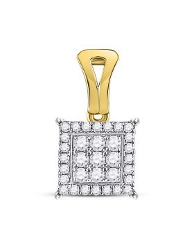 14kt Yellow Gold Womens Round Diamond Square Cluster Pendant 1/2 Cttw