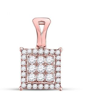 14kt Rose Gold Womens Round Diamond Square Cluster Pendant 1/2 Cttw