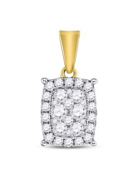 14kt Yellow Gold Womens Round Diamond Vertical Rectangle Cluster Pendant 1/2 Cttw