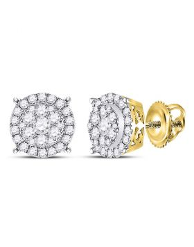14kt Yellow Gold Womens Round Diamond Circle Cluster Earrings 3/8 Cttw
