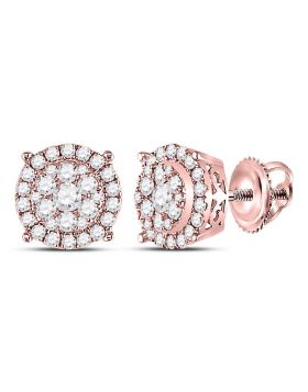 14kt Rose Gold Womens Round Diamond Circle Cluster Earrings 3/8 Cttw