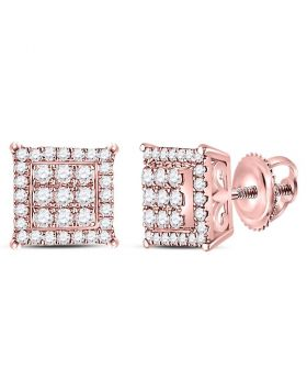 14kt Rose Gold Womens Round Diamond Square Cluster Stud Earrings 1/4 Cttw