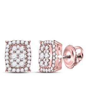 14kt Rose Gold Womens Round Diamond Vertical Rectangle Cluster Earrings 1/2 Cttw