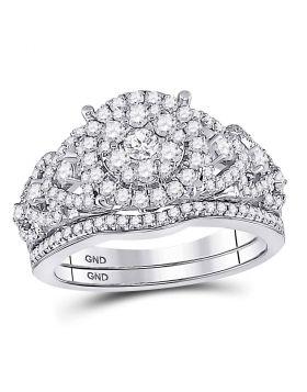 14kt White Gold Womens Round Diamond Vintage-inspired Bridal Wedding Engagement Ring Band Set 1.00 Cttw