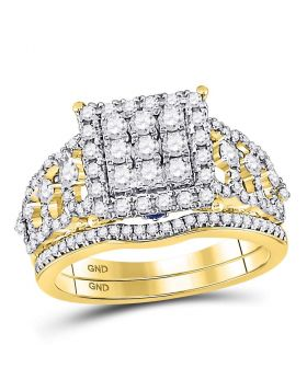 14kt Yellow Gold Womens Round Diamond Vintage-inspired Bridal Wedding Engagement Ring Band Set 1.00 Cttw