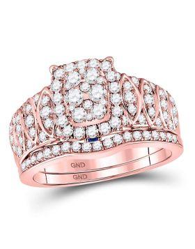 14kt Rose Gold Womens Round Diamond Vintage-inspired Bridal Wedding Engagement Ring Band Set 1-3/8 Cttw
