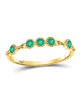 10kt Yellow Gold Womens Round Emerald Dot Stackable Band Ring 1/20 Cttw