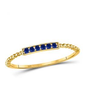 10kt Yellow Gold Womens Round Blue Sapphire Beaded Stackable Band Ring 1/20 Cttw