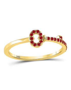 10kt Yellow Gold Womens Round Ruby Key Stackable Band Ring 1/5 Cttw