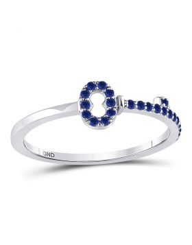 10kt White Gold Womens Round Blue Sapphire Key Stackable Band Ring 1/5 Cttw
