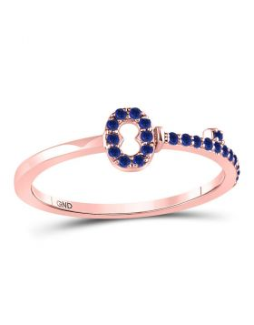 10kt Rose Gold Womens Round Blue Sapphire Key Stackable Band Ring 1/5 Cttw