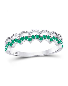 10kt White Gold Womens Round Emerald Scalloped Stackable Band Ring 1/4 Cttw
