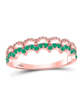 10kt Rose Gold Womens Round Emerald Scalloped Stackable Band Ring 1/4 Cttw