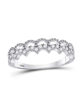 10kt White Gold Womens Round Diamond Scalloped Stackable Band Ring 1/4 Cttw