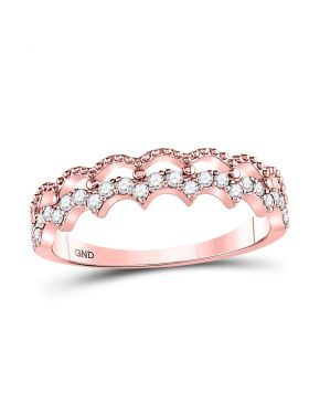 10kt Rose Gold Womens Round Diamond Scalloped Stackable Ring 1/4 Cttw