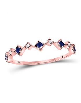 10kt Rose Gold Womens Round Blue Sapphire Diamond Square Stackable Band Ring 1/5 Cttw