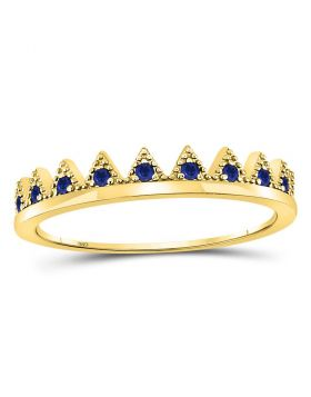10kt Yellow Gold Womens Round Blue Sapphire Chevron Stackable Band Ring 1/10 Cttw