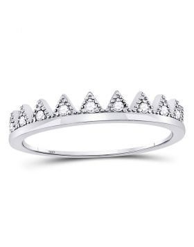 10kt White Gold Womens Round Diamond Beaded Chevron Stackable Band Ring 1/10 Cttw