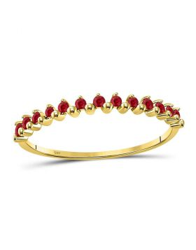 10kt Yellow Gold Womens Round Ruby Single Row Stackable Ring 1/8 Cttw